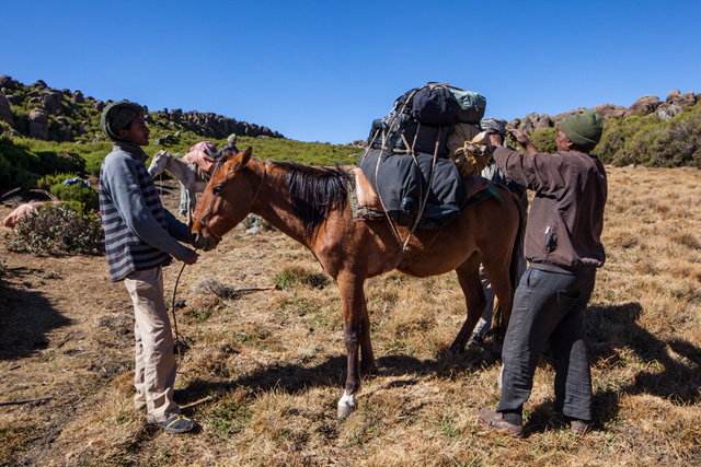 Step 5: After the heaviest luggage pieces are fixated, the horse assistant attaches lighter items: my tent, a small rucksack (with my 300 mm telephoto lens inside), and a sack with kitchen utilities.
